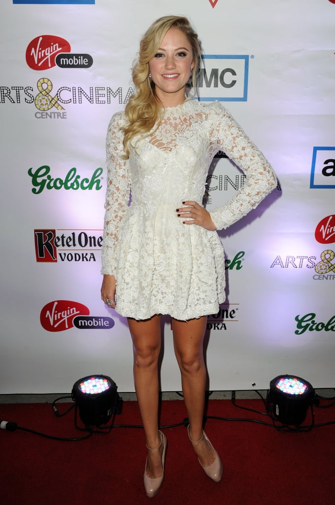 At Any Price starlet Maika Monroe attended the film's after-party in a lacy LWD and nude pumps.