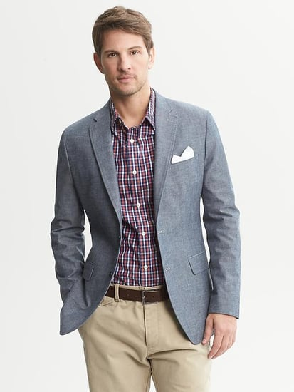 Tailored-Fit Chambray Two-Button Blazer
