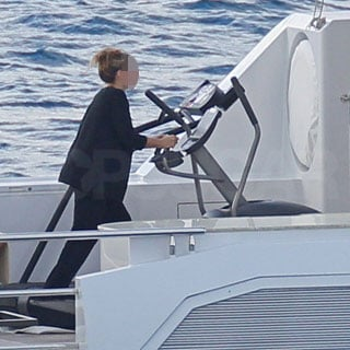 Guess Who's Walking on a Treadmill on Board a Yacht?