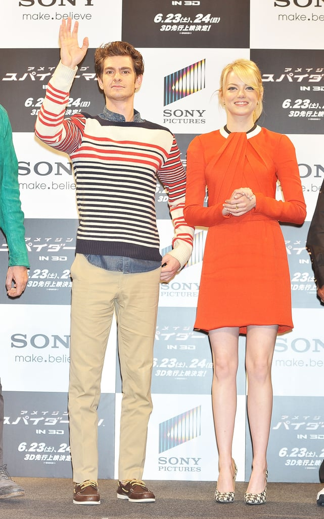 Possibly one of our favourite world tour looks thus far, Emma nailed it in a bold orange and long-sleeved Rue du Mail dress at the film's Tokyo photocall. To punch up the look even more, she added Salvatore Ferragamo's houndstooth-printed pumps into the mix.
