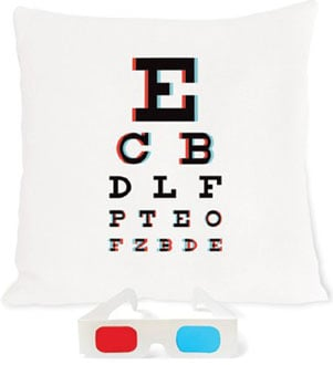 3D Eye Chart Pillow With Anaglyph Glasses