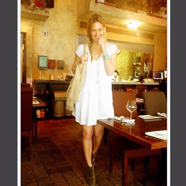 Bar Refaeli looked cute and Spring-ready in a bohemian-chic dress and ankle boots. Source: Instagram user barrefaeli