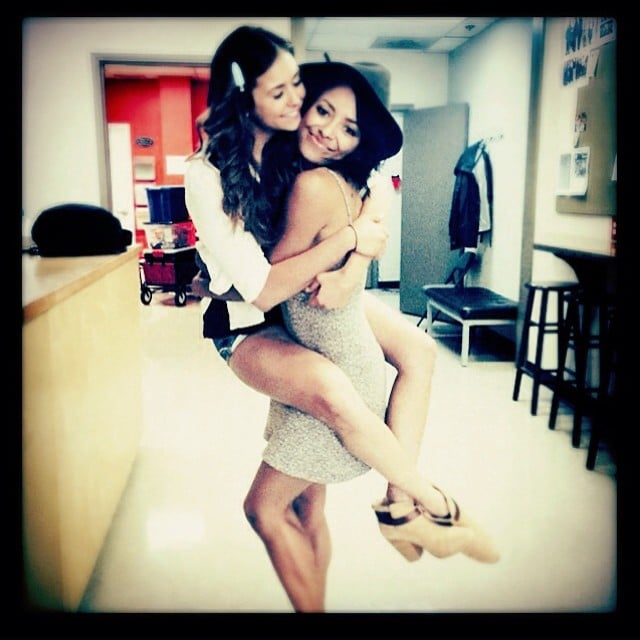 Nina Dobrev and Kat Graham reunited on the first day of shooting season six.