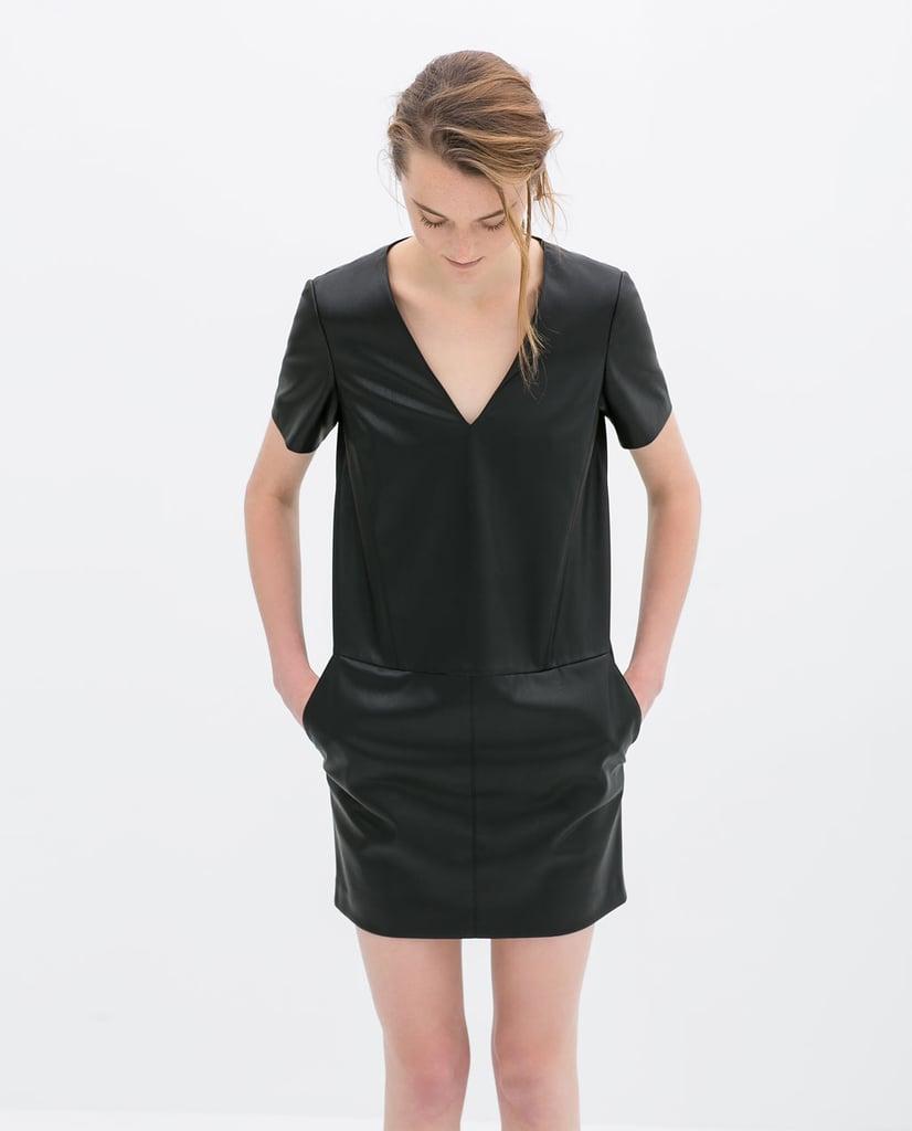 Zara Leather V-Neck Dress