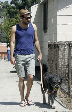 Noah Carries His Ball While Zachary Quinto Takes the Bags