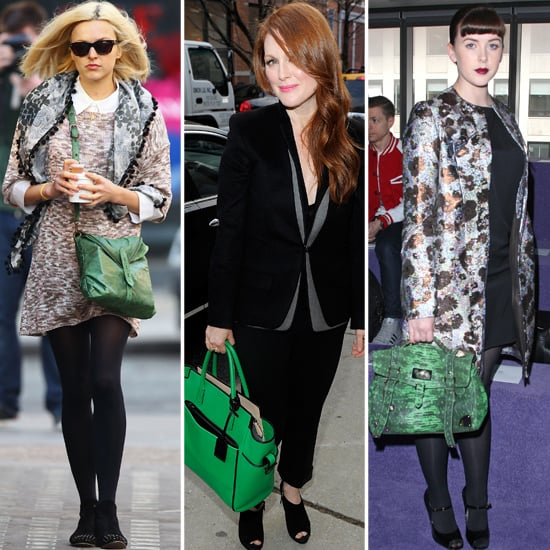 Trendy Green Handbags on Celebrities in 2012