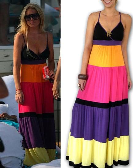 Found! Lindsay Lohan's Colorblock Maxi Dress