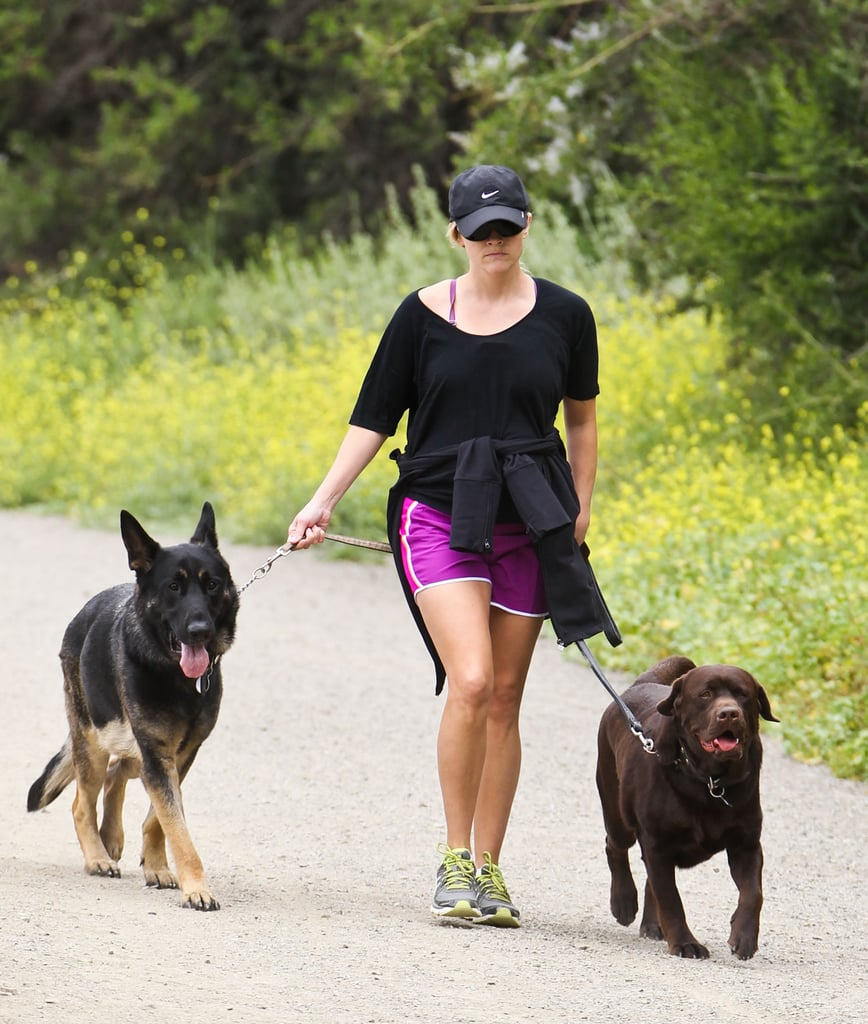 Pregnant Reese Witherspoon went for a walk with her dogs.