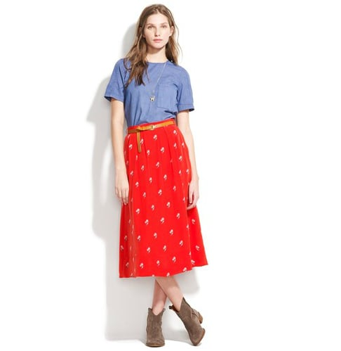 Dainty, country-chic, but a total statement pieces thanks to its bold red hue. Rock this ladylike skirt with Western-inspired booties. Madewell Roseblossom Skirt ($84, originally $105)