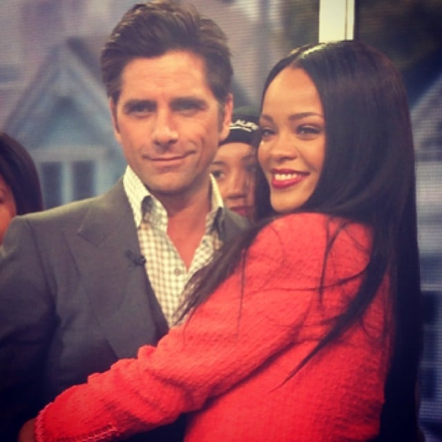 John and Rihanna linked up on the GMA set. Source: Instagram user johnstamos