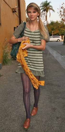 Straight-Haired Taylor Swift in LA Wearing Striped Dress, Floral Scarf, and Patterned Tights