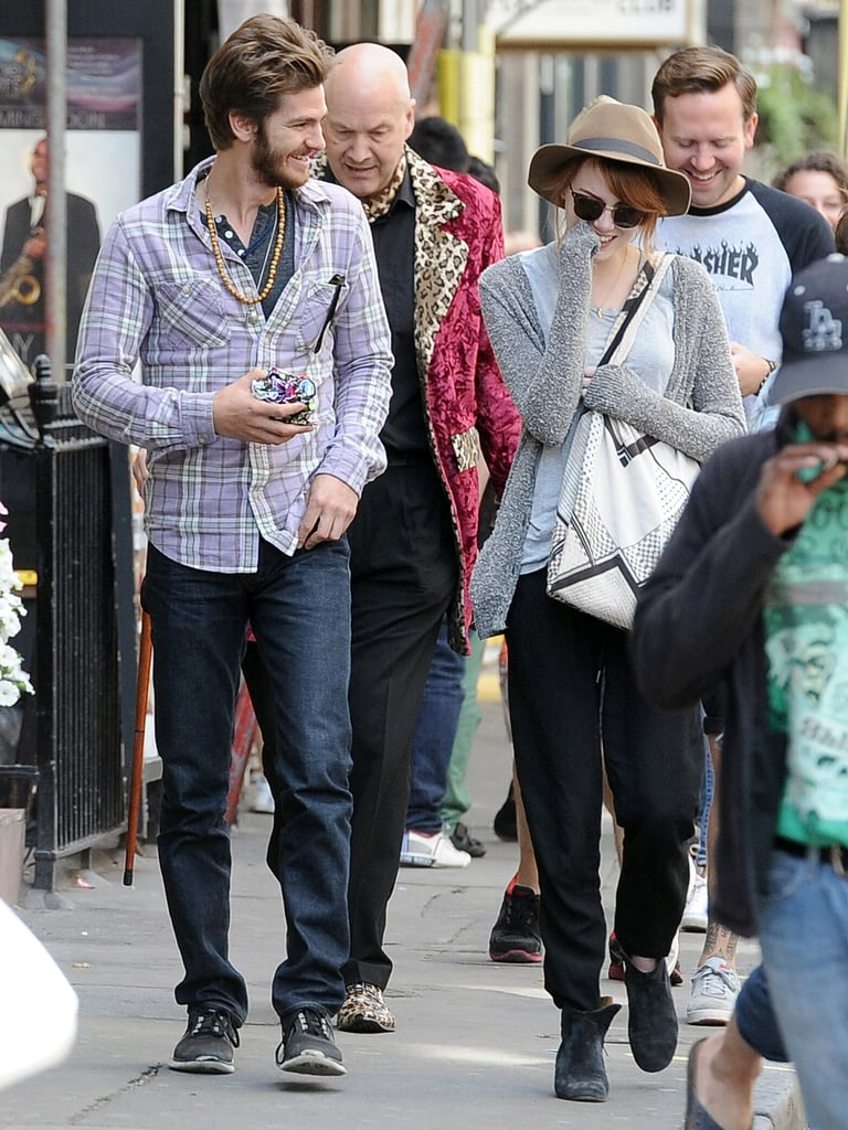 Emma Stone and Andrew Garfield had a laugh together during a day of sightseeing in London.