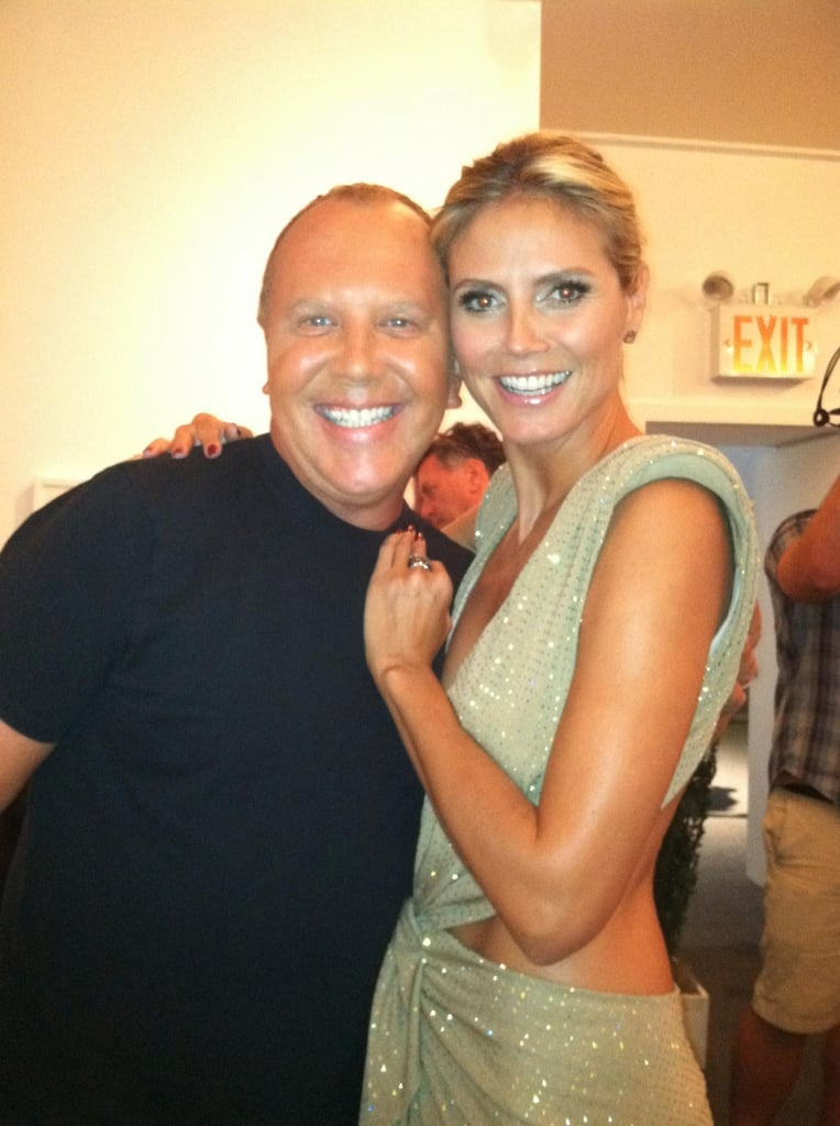Michael Kors and Heidi Klum smiled big for the cameras after the Project Runway runway show. Source: Twitter user heidiklum