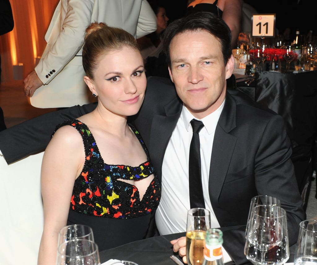 Anna Paquin and Stephen Moyer posed for a picture inside Elton John's viewing party.