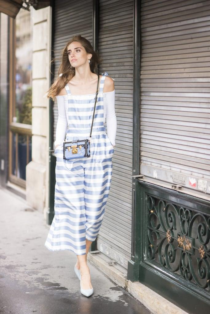 Chiara Ferragni caught our eye in striped Vivetta overalls, Celine shoes, and a Louis Vuitton bag.
