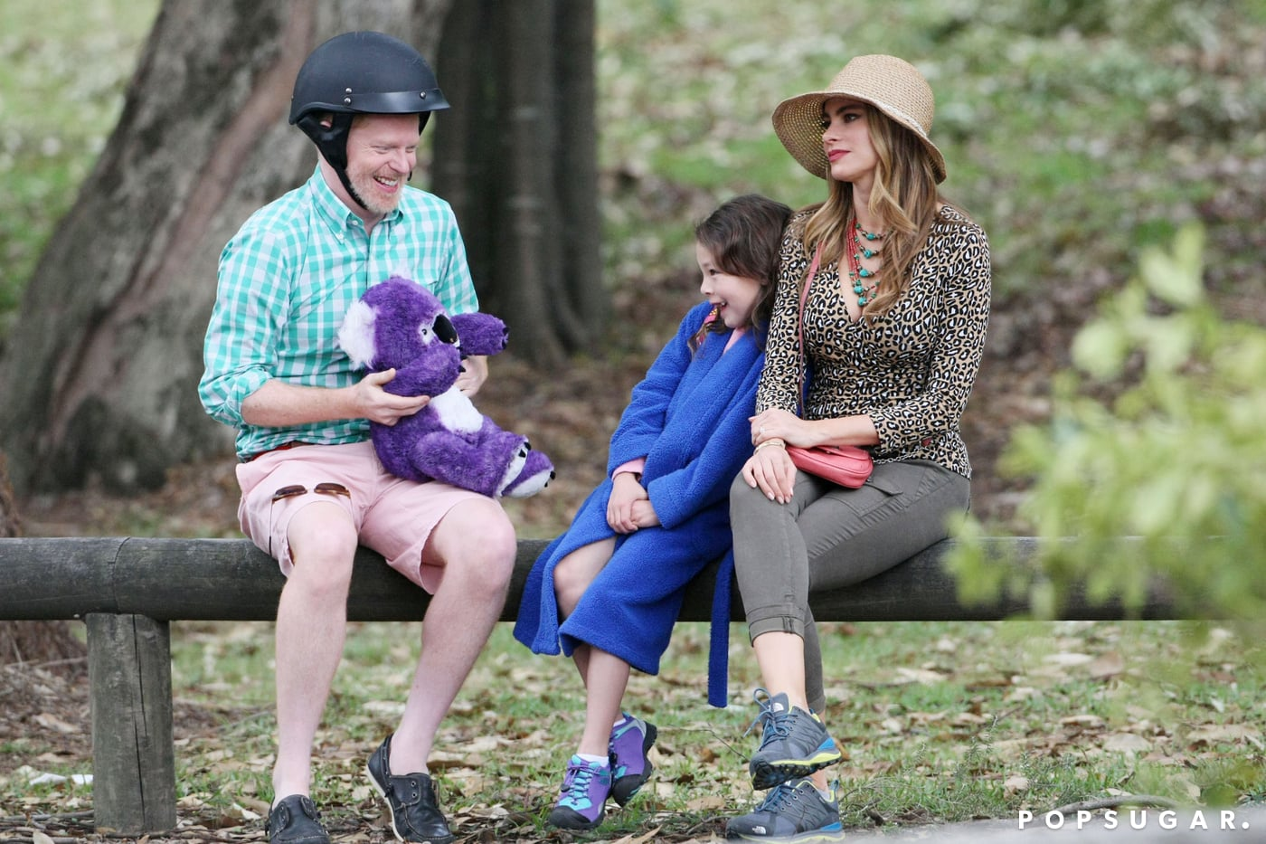 Modern Family stars spent Monday filming a scene in Sydney, Australia. Jesse Tyler Ferguson and Sofia Vergara sat with Aubrey Anderson-Emmons and played with a purple koala bear.