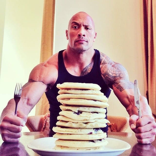 """Hell, I thought every day was National Pancake Day... #Dominator #UncleJemima,"" Dwayne Johnson posted. Source: Instagram user therock"