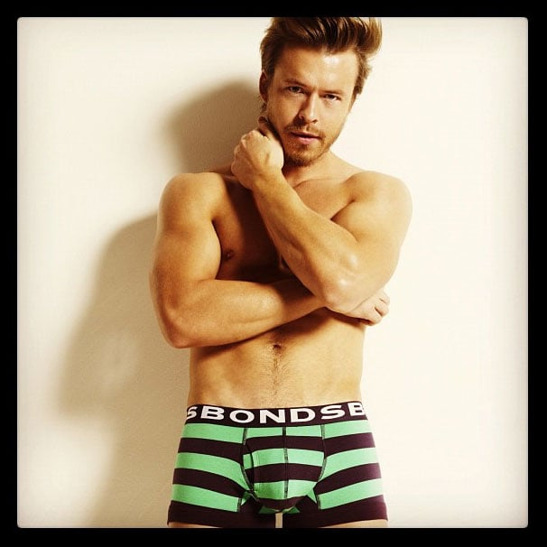Nice knickers Todd Lascance! The Aussie heartthrob shows off his stripey smalls in Bonds' Summer campaign.