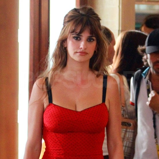 Penelope Cruz wore red lipstick to match her lingerie.