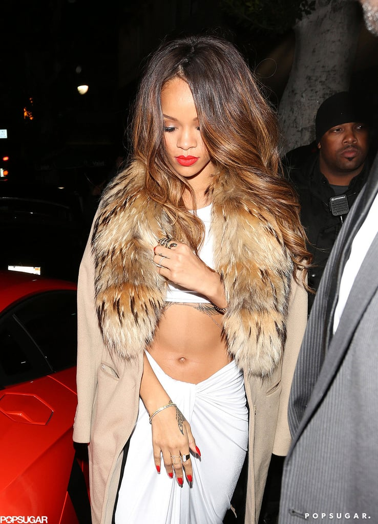 Rihanna wore white to a Grammys afterparty.