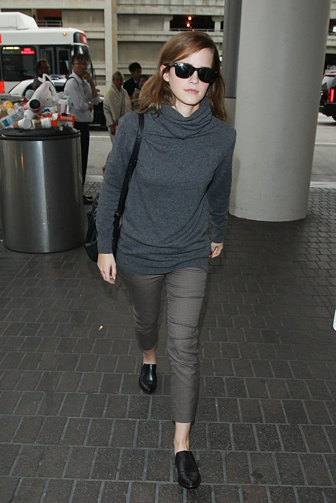 Emma Watson gave easy separates a smart finish with polished loafers on her way out of LAX.