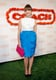 Sophia Bush chose a bright-blue-infused cocktail dress and pink Coach clutch.
