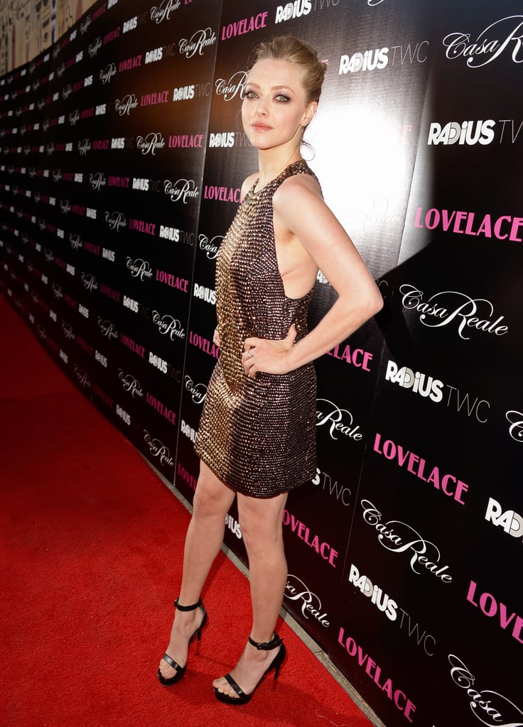 Amanda Seyfried wore a sequined Gucci dress to her Lovelace premiere in LA.