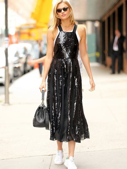 See How Karlie Kloss Pulled Off a Fancy Sequined Dress With Sneakers