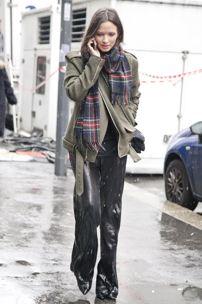 Slick pants were the perfect counter to cozy plaid.