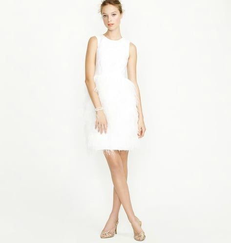 For the glamorous bride, this afterparty dress has an awesome, feather-tiered skirt that will look fantastic with metallic heels.  J.Crew Feather Dress ($895)