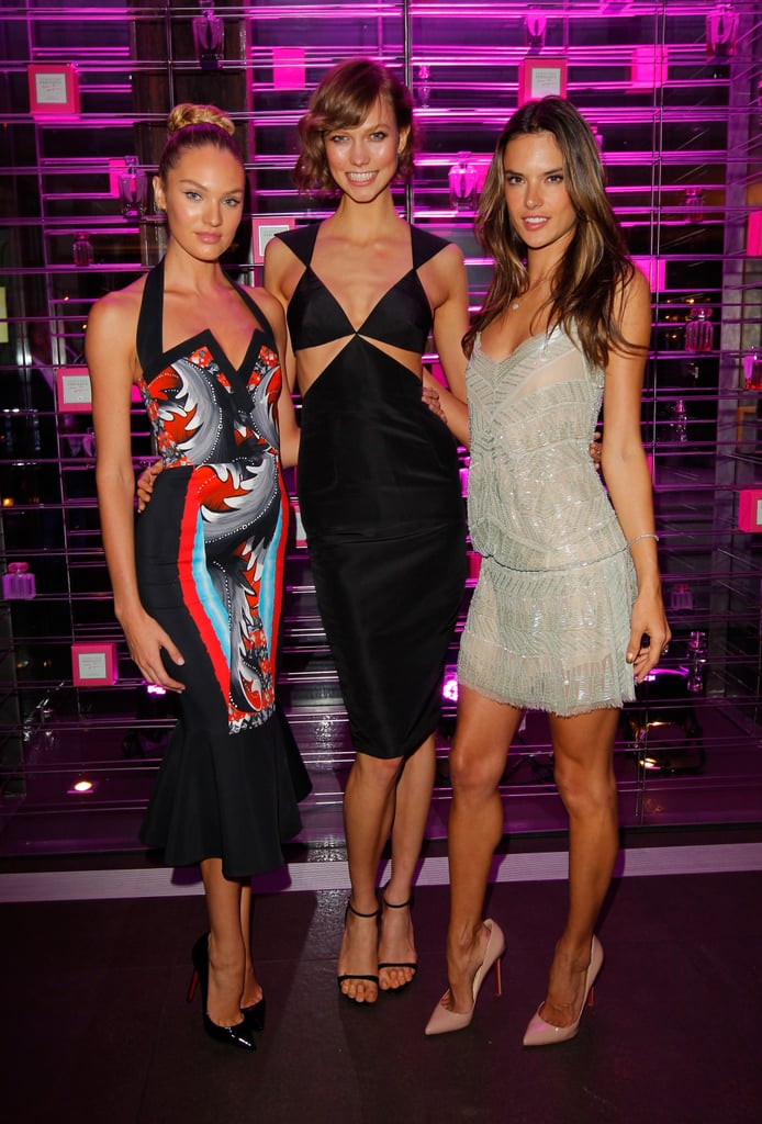 Candice Swanepoel, Karlie Kloss, and Alessandra Ambrosio linked up to celebrate the Victoria's Secret 2013 swim line at a party in LA.