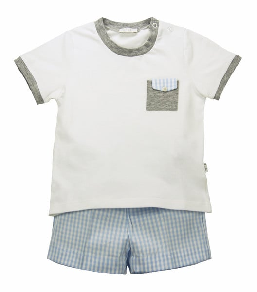 Il Gufo's gingham short and t-shirt set ($99) is the perfect compromise between mom's desire for dressy and your little boy's desire for comfort.