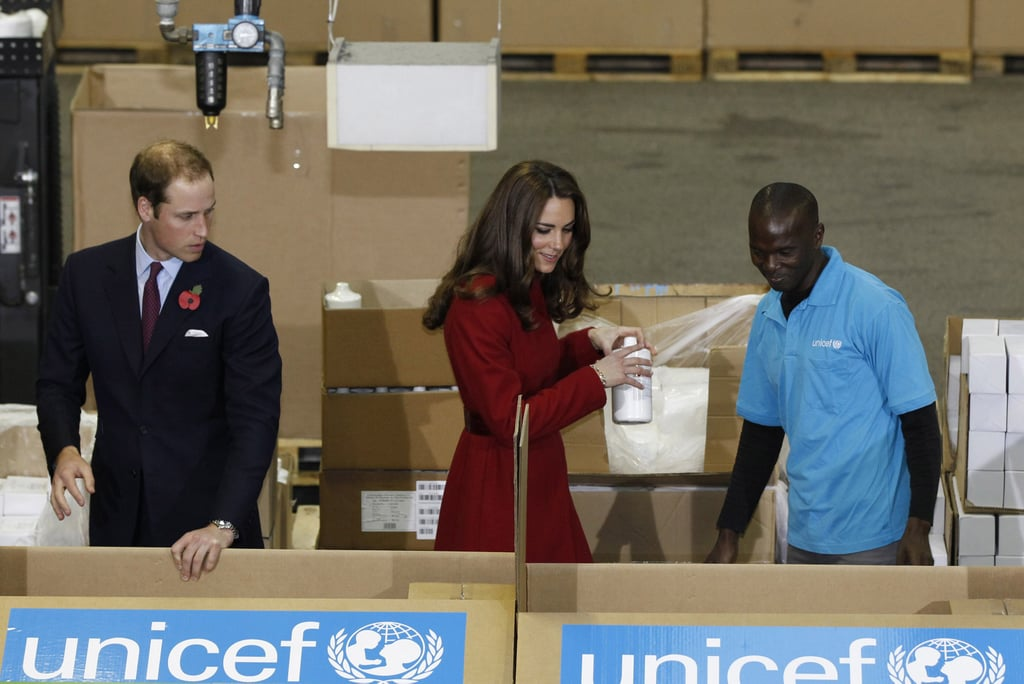 Kate Middleton and Prince William packed boxes of emergency supplies for UNICEF relief.