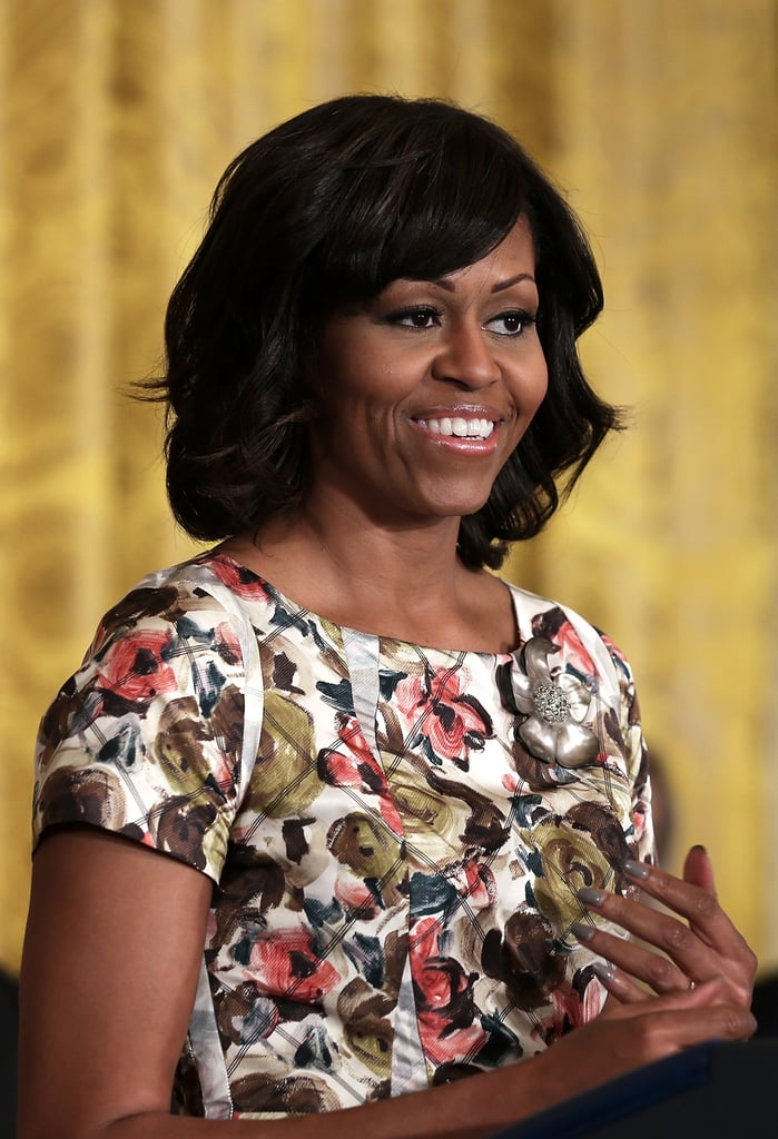 """Let's zoom in on the """"inside out"""" floral pattern of Michelle Obama's Thakoon dress."""