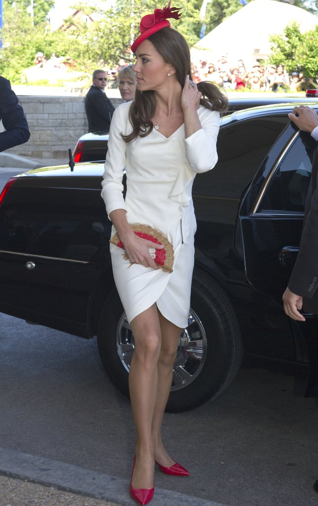 Kate Middleton accessorized her Reiss dress with a maple-leaf fascinator from Look & Co.