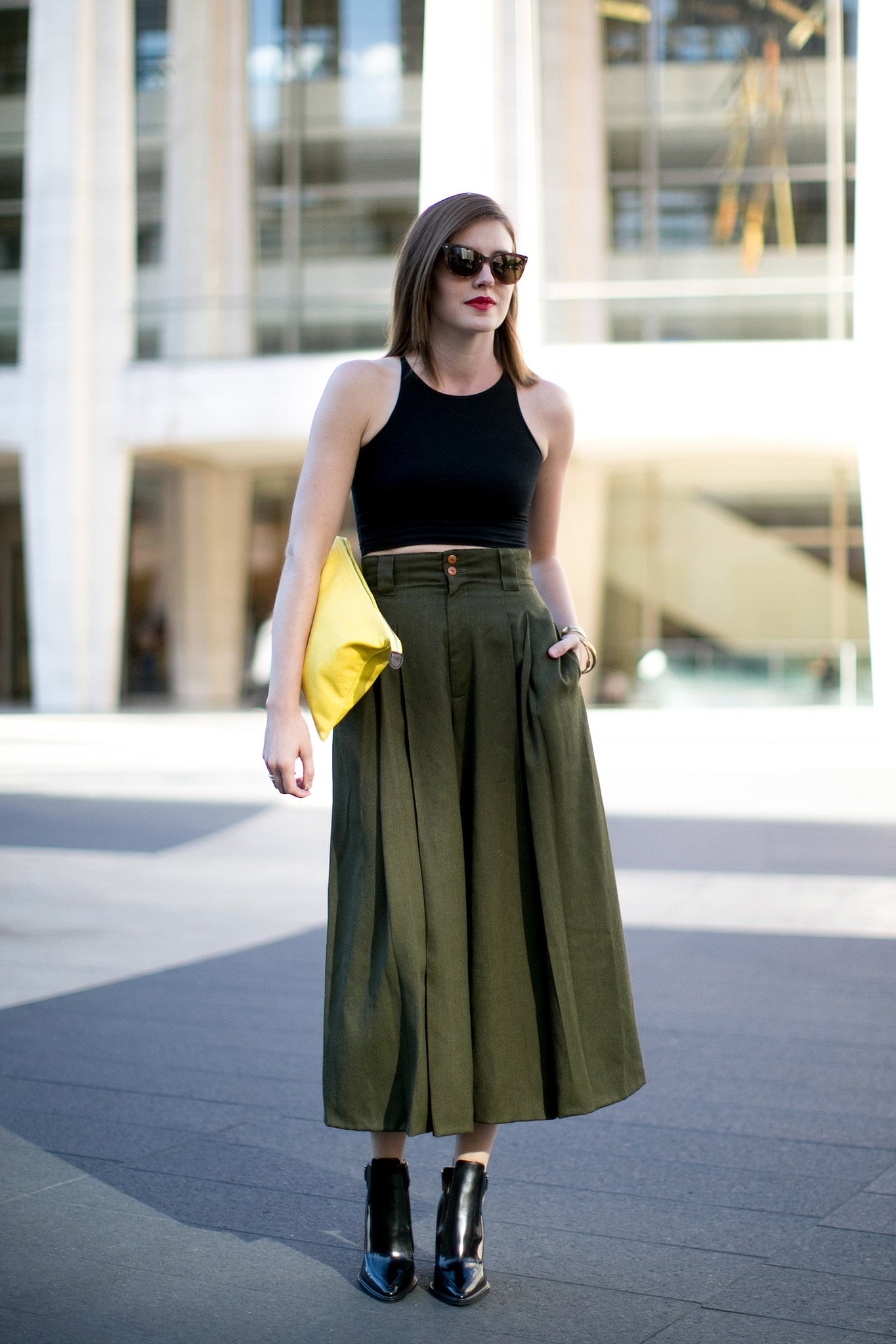Make your neutral maxi skirts and boots feel Summer ready when you add a crop top.