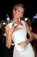 Toni Garrn flashed a peace sign at the Fatale in Cannes party.