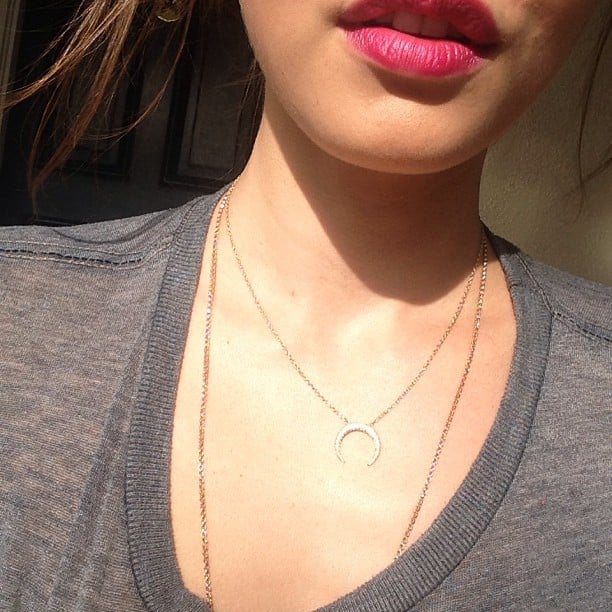 Phoebe Tonkin showed off some pretty fine necklaces (not to mention the pillowiest lips this side of Rosie Huntington-Whiteley). Source: Instagram user phoebejtonkin