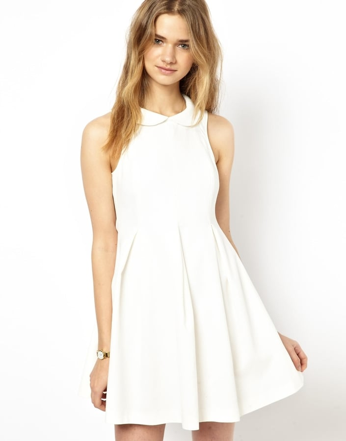 ASOS White Sleeveless Collared Dress
