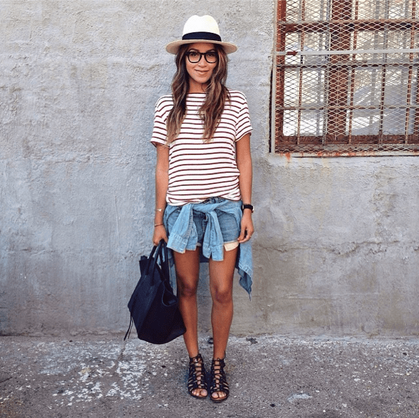 Our unofficial Summer uniform — just top off your stripes and cutoffs with a hat and lace-up sandals, and you're good to go. Source: Instagram user sincerelyjules
