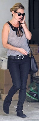 Kate Moss Wears Gray Tank and Moccasins in London