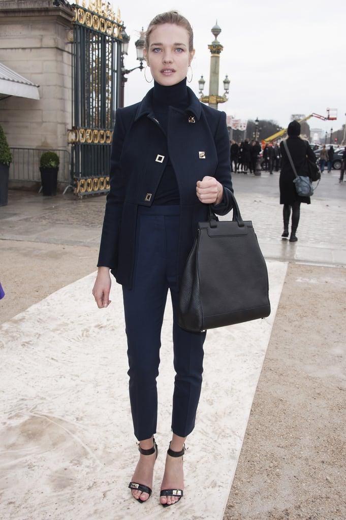 Natalia Vodianova stuck her hue of choice — navy — for the Valentino show.