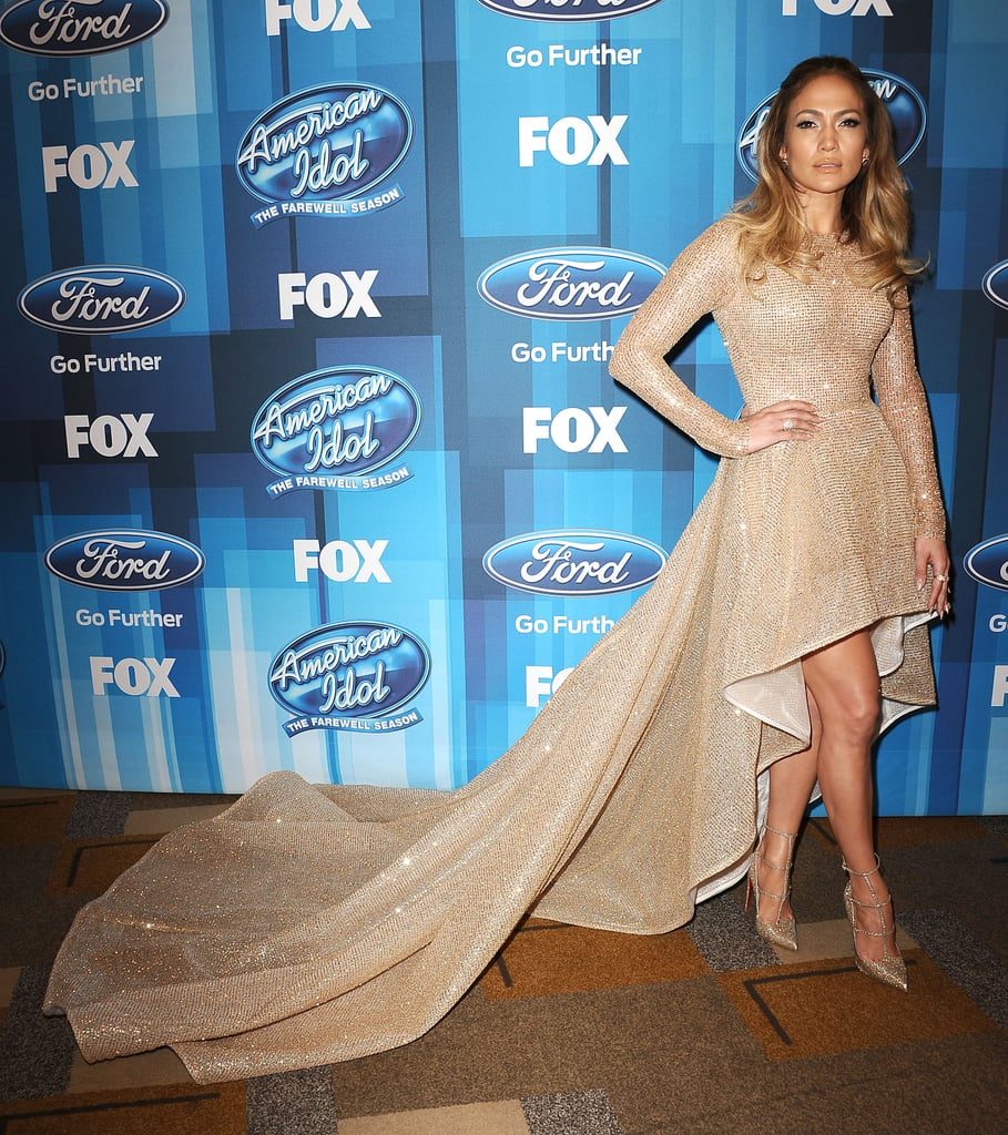 Jennifer Lopez 39 S Gold Dress At American Idol Finale 2016 Popsugar Fashion