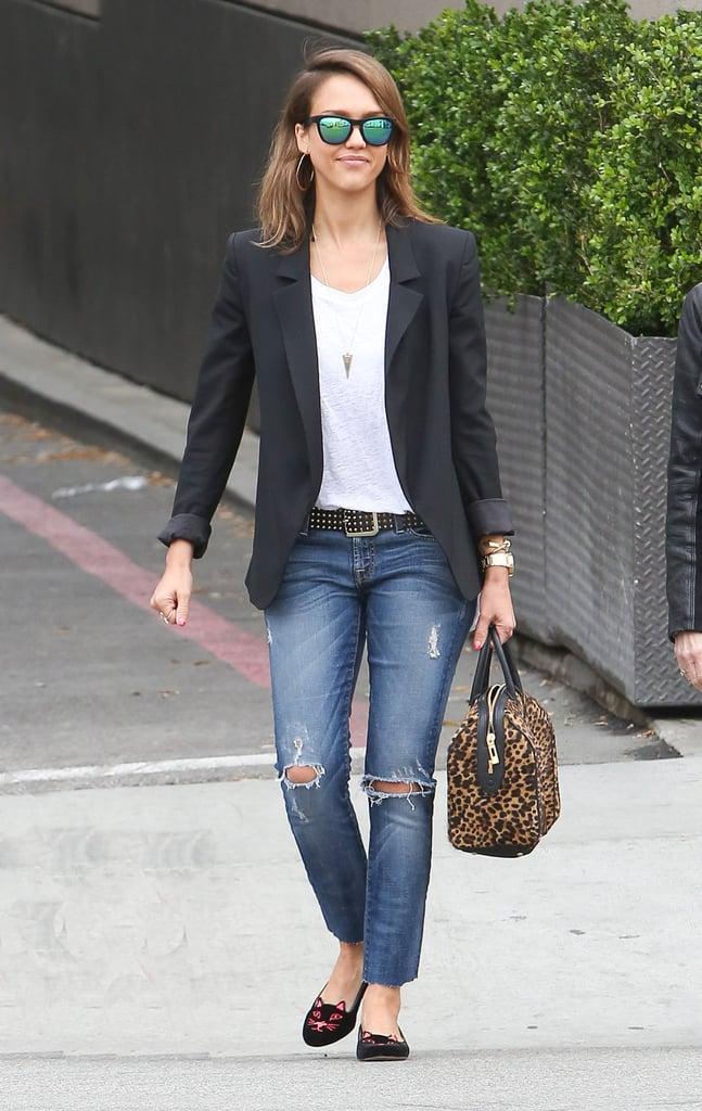 Jessica Alba in Charlotte Olympia Kitty Flats and Leopard A.L.C. Handbag