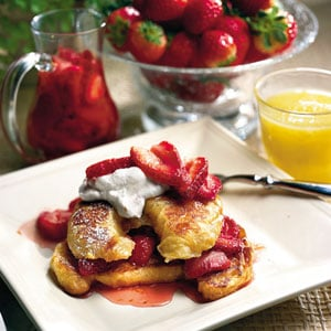Surprise her with a delicious breakfast in bed. This croissant French toast with fresh strawberry syrup is a nice twist on an old favorite.