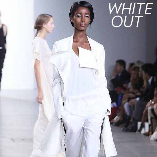 Why we love it: Nothing looks more refreshing on a hot day than a white jacket. They're crisp, cool, and utterly refined. Phillip Lim and a lot of our other favorite designers showed a range of short and long variations on the Spring runways. How to wear it: You don't have to choose a bright white hue for this trend; pearl and soft ivory hues look just as amazing. Make this blazer your go-to for every look; we love it paired with wide-leg jeans, cropped trousers, lace shorts, jumpers . . . The list goes on and on. Photo: Phillip Lim Spring 2012