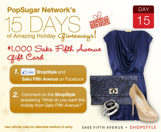 Win $1,000 to Saks Fifth Ave