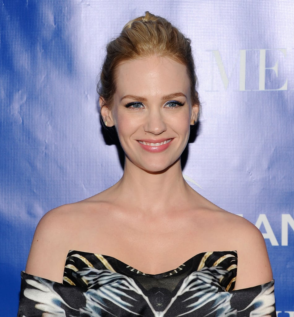 January Jones arrived at a screening of La Revolution Bleue in NYC wearing a peplum Mary Katrantzou dress.