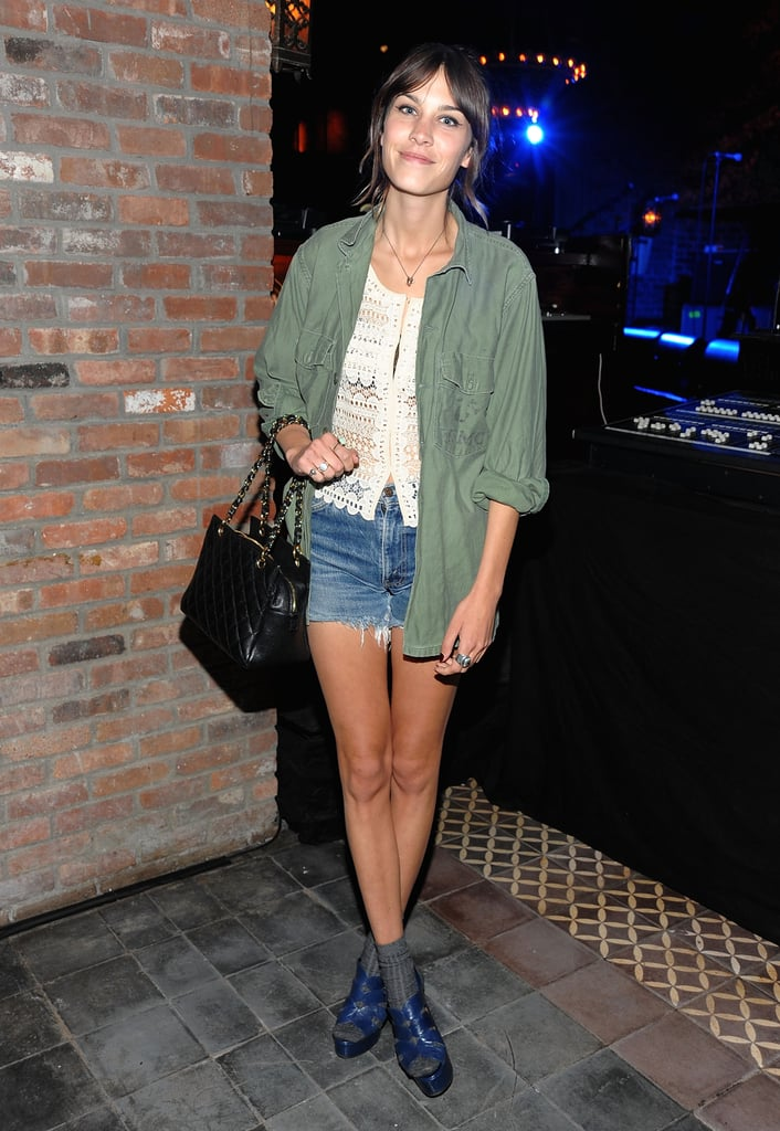 Capitalizing on the military trend and shorts, asa per usual, at a party for the Loft this Spring.