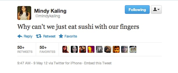 Mindy Kaling's eating suggestion would make sushi dates a little less awkward.